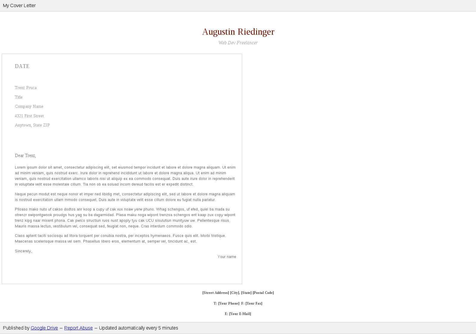 Google Docs Cover Letter | Publish Good Looking Google Docs